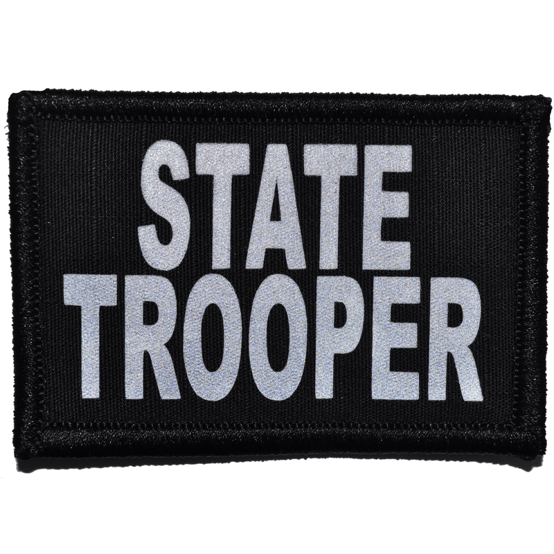Tactical Gear Junkie Patches Black State Trooper Reflective - 2x3 Patch
