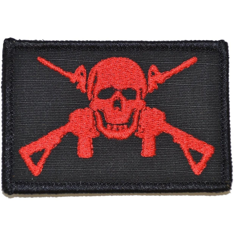 Tactical Gear Junkie Patches Black w/ Red Jolly Roger Cross M4s - 2x3 Patch