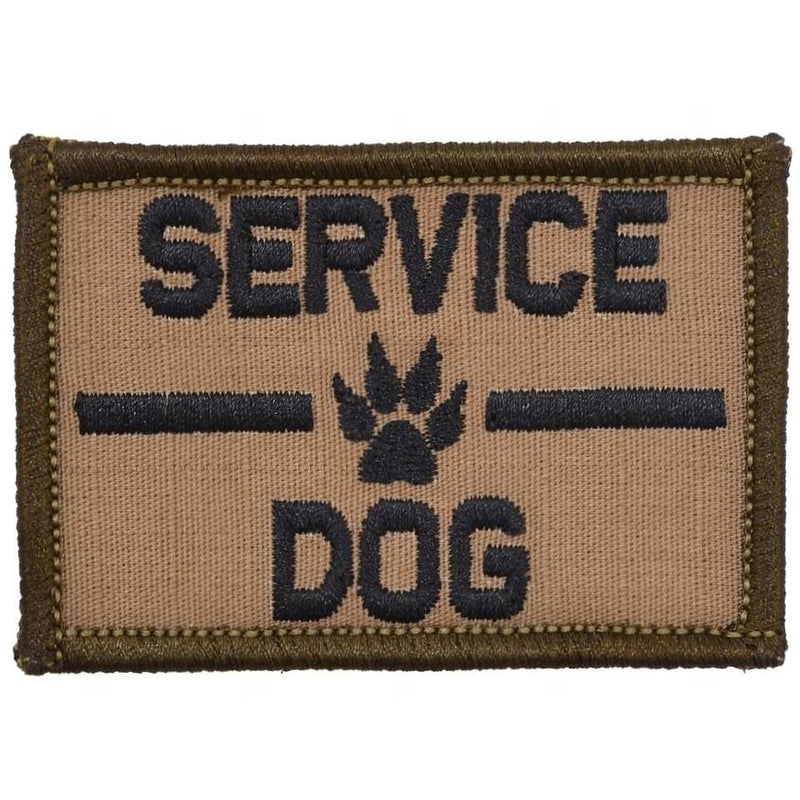 Tactical Gear Junkie Patches Coyote Brown w/ Black Service Dog, K9 Dog Patch - 2x3 Patch