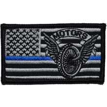 2x3.5 USA Flag with Superimposed Police Motors Thin Blue Line