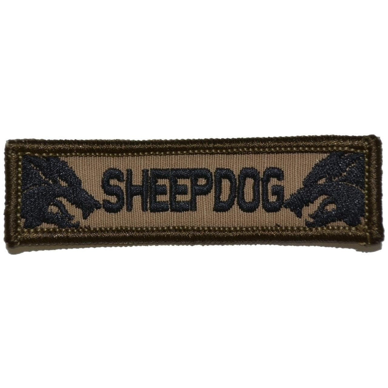 Tactical Gear Junkie Patches Coyote Brown w/ Black Sheepdog - 1x3.75 Patch
