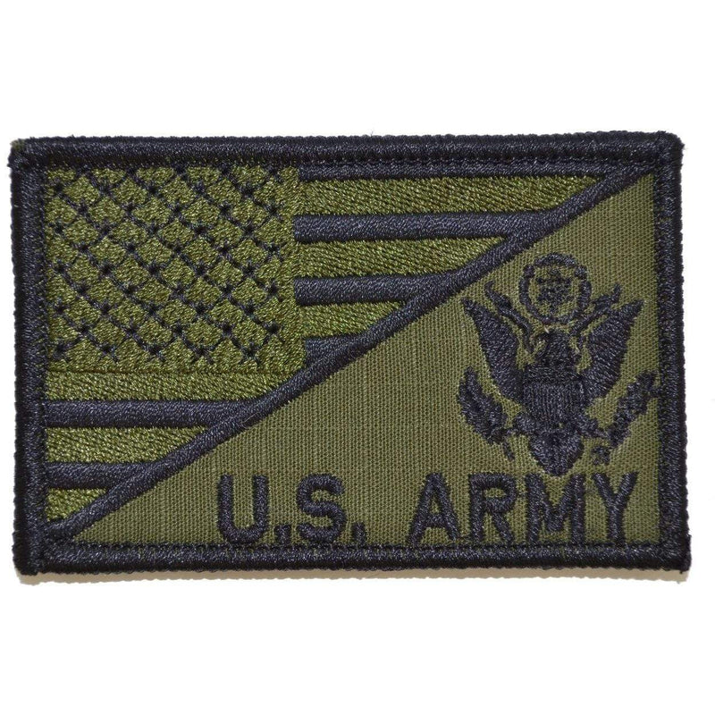 Tactical Gear Junkie Patches Olive Drab US Army Crest With Text USA Flag - 2.25x3.5 Patch