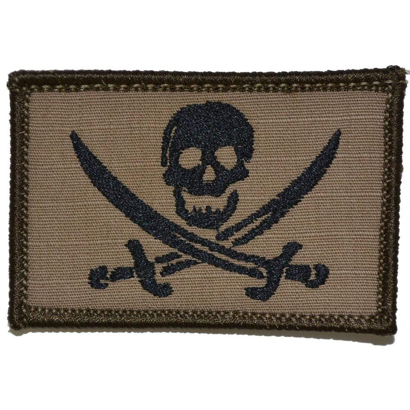 Tactical Gear Junkie Patches Coyote Brown w/ Black Pirate Jolly Roger - 2x3 Patch