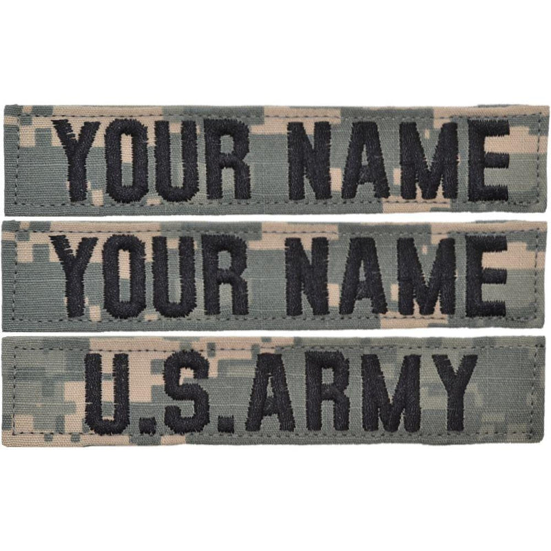 Tactical Gear Junkie Name Tapes 3 Piece Custom Name Tape Set w/ Hook Fastener Backing - ACU