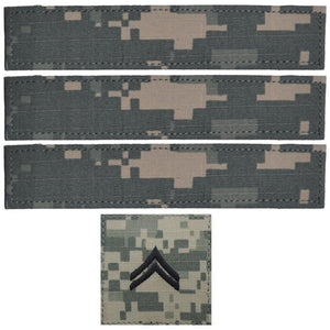 4 Piece Custom Name Tape & Rank Set w/ Hook Fastener Backing- ACU