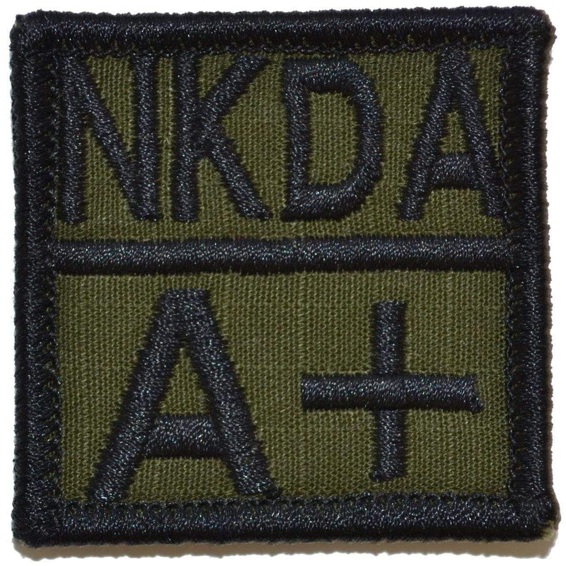Tactical Gear Junkie Patches Olive Drab Blood Type and Allergy - 2x2 Patch