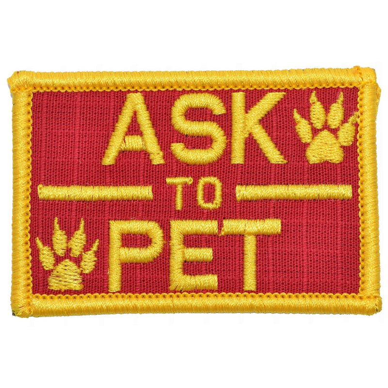 Tactical Gear Junkie Patches Red w/ Yellow Ask to Pet, K9 Service Dog - 2x3 Patch
