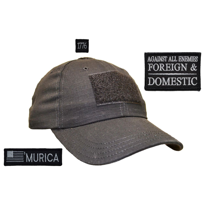 Tactical Gear Junkie Patches Black American Made Operator Hat with Patch Set: Against All Enemies Oath of Service 2x3, 'Murica USA Flag 1x3.75, 1776 1x1