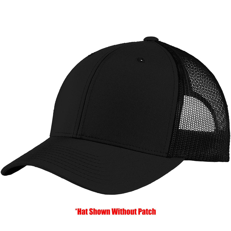 Tactical Gear Junkie Apparel Black Mesh Trucker Hat with TGJ Spartan Logo PVC Patch - Multiple Colors