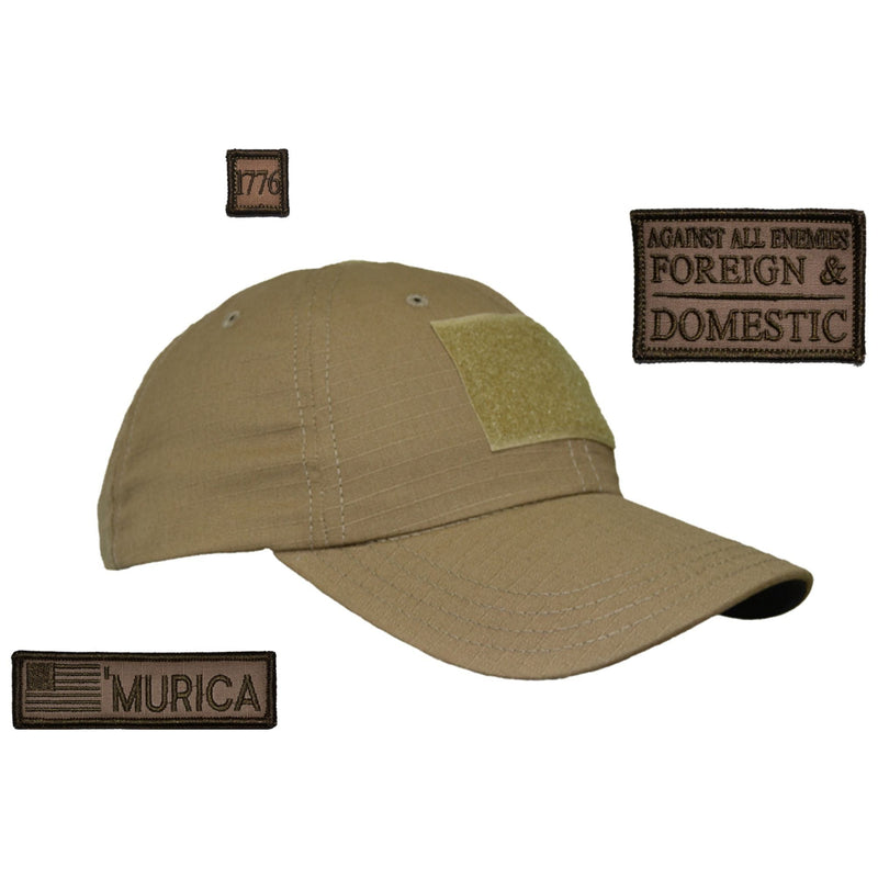 Tactical Gear Junkie Patches Coyote Brown American Made Operator Hat with Patch Set: Against All Enemies Oath of Service 2x3, 'Murica USA Flag 1x3.75, 1776 1x1