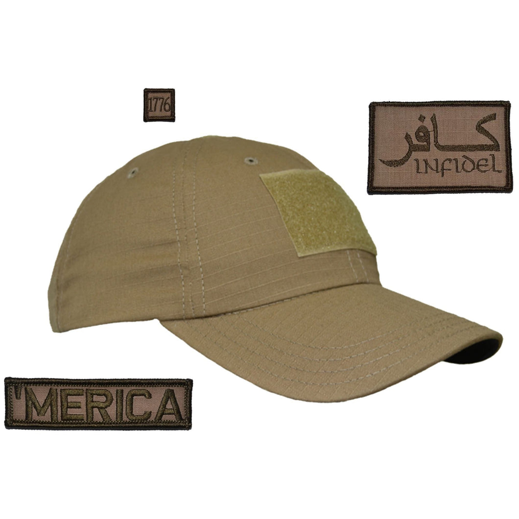 Gen II Hat with Patch Set: Infidel in Arabic 2x3, 'Merica 1x3.75, 1776 1x1