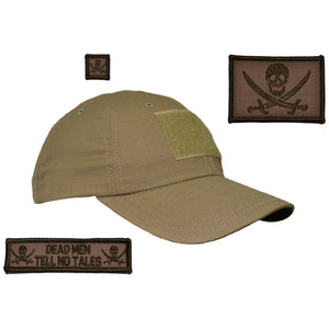 Gen II Hat with Patch Set: Pirate Jolly Roger 2x3, Dead Men Tell No Tales 1x3.75, Jolly Roger 1x1