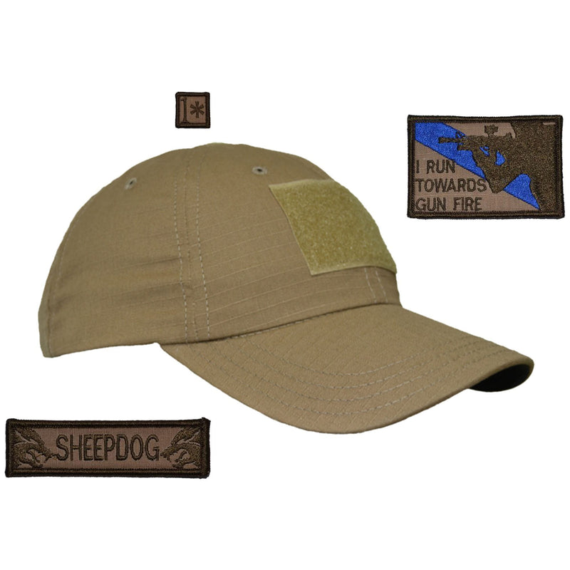 Tactical Gear Junkie Patches Coyote Brown American Made Operator Hat with Patch Set: I Run Towards Gunfire 2x3, Sheepdog 1x3.75, 1* 1x1