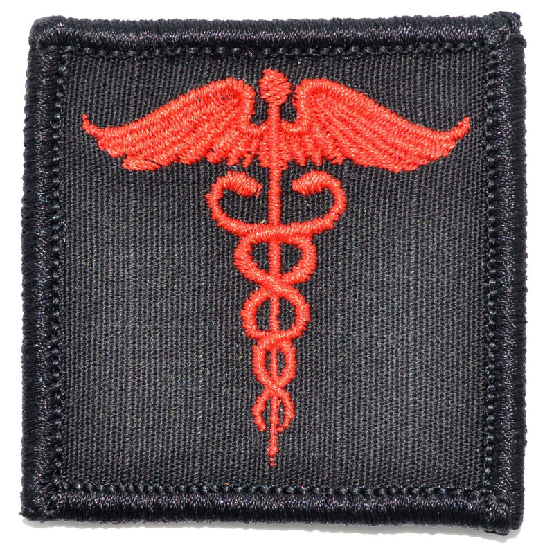 Tactical Gear Junkie Patches Black w/ Red Caduceus Staff of Life - 2x2 Patch