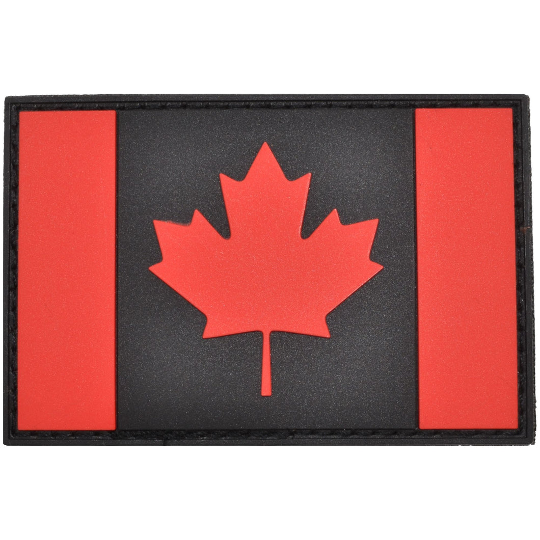 Canadian Flag Black and Red - 2x3 PVC Patch