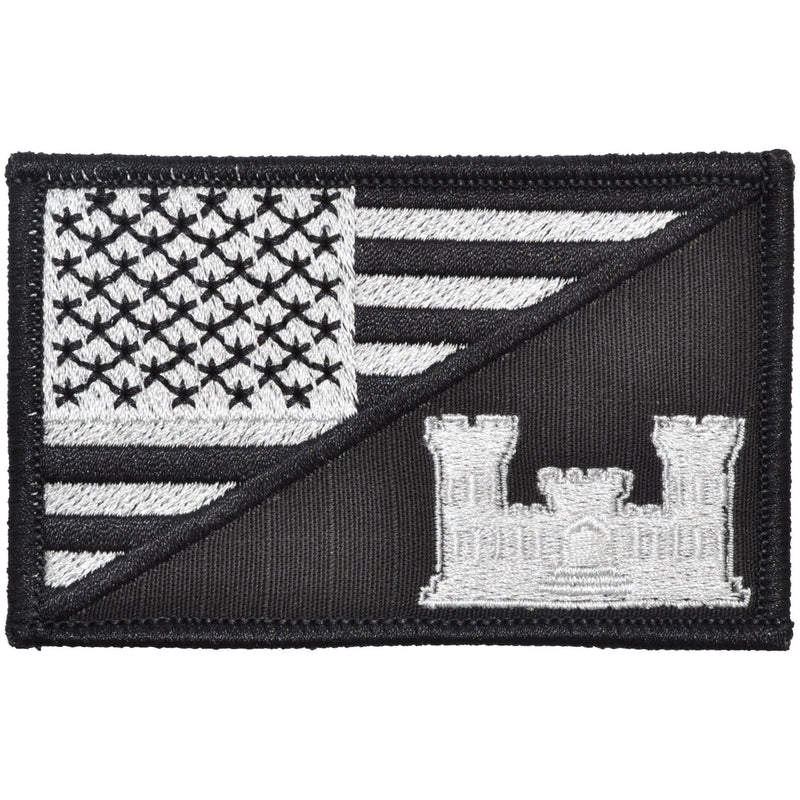Tactical Gear Junkie Patches Black Army Engineer Castle USA Flag - 2.25x3.5 Patch