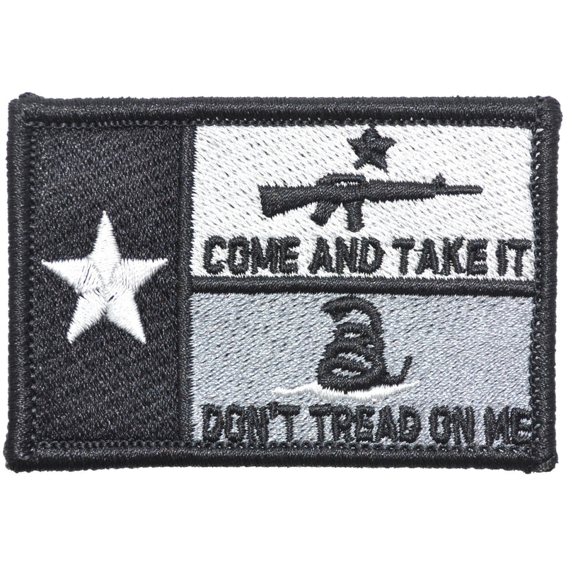 Tactical Gear Junkie Patches Black Texas State Flag with Come & Take It AR15 and Gadsden Snake - 2x3 Patch