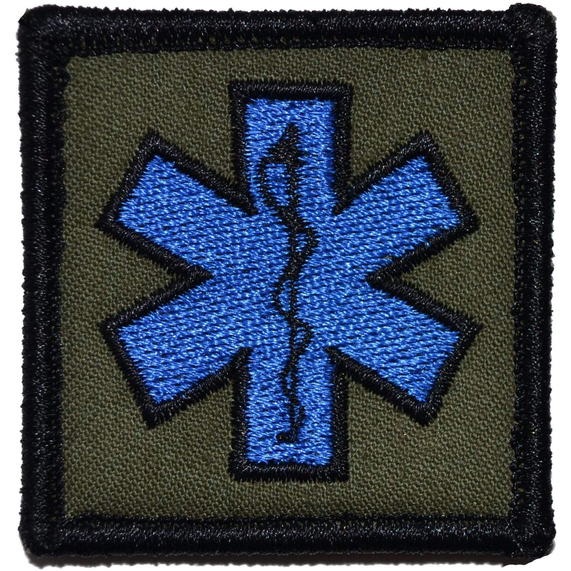 Tactical Gear Junkie Patches Olive Drab EMT Star of Life Caduceus - 2x2 Patch