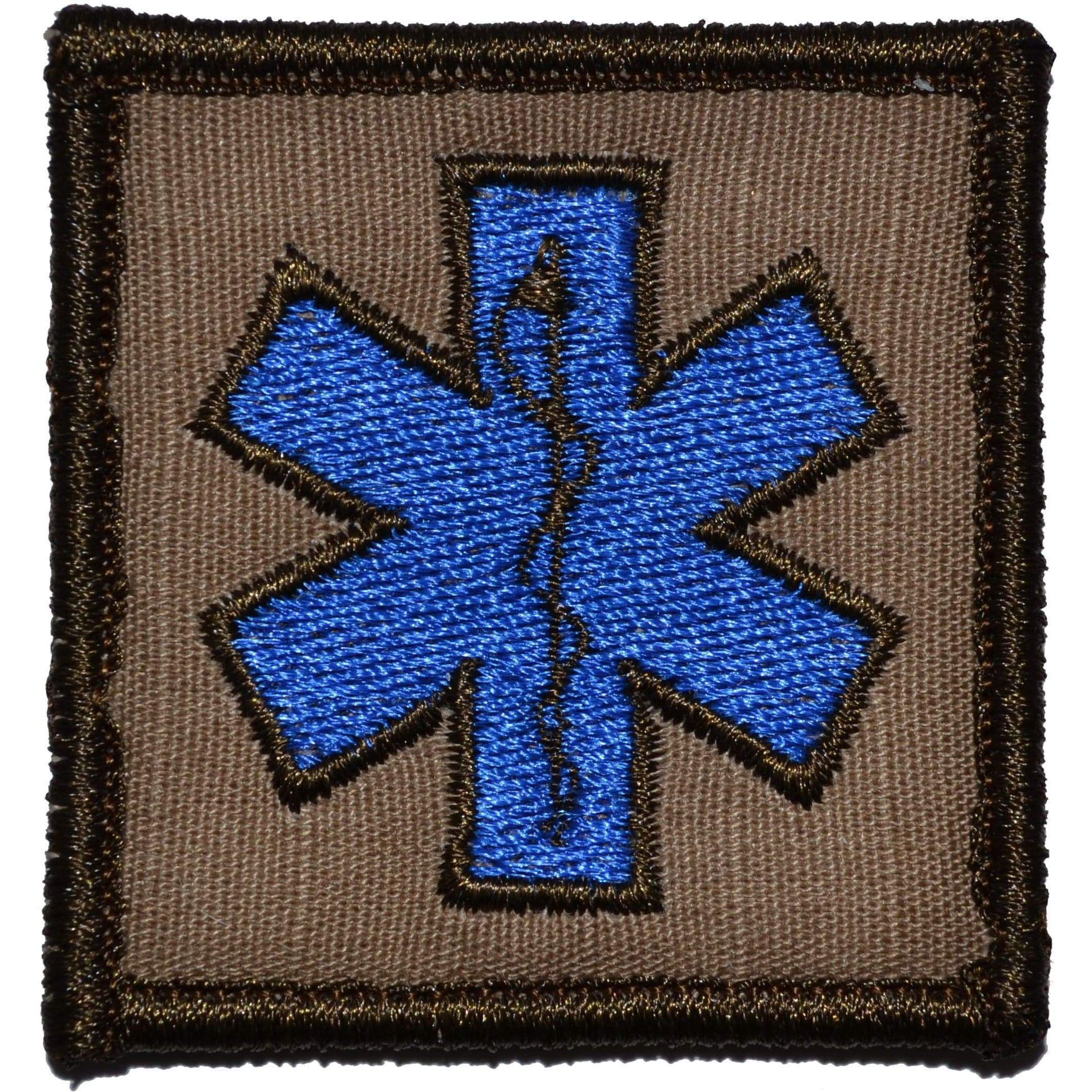 Tactical Gear Junkie Patches Coyote Brown EMT Star of Life Caduceus - 2x2 Patch