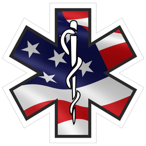 Caduceus Staff Star Of Life USA Flag - 4 inch Sticker