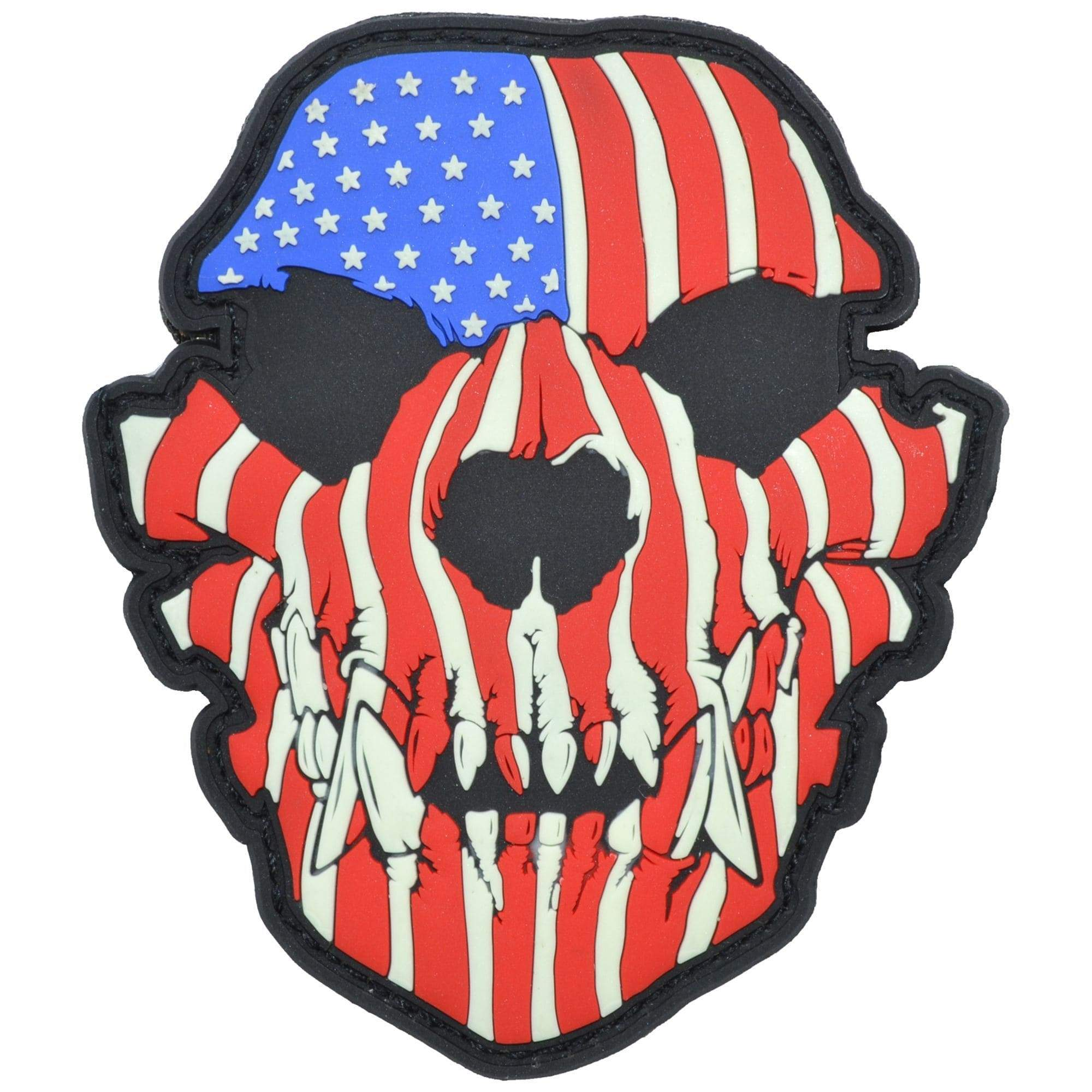 Glow in the Dark Canine Skull USA Flag - 3x3.5 PVC Patch