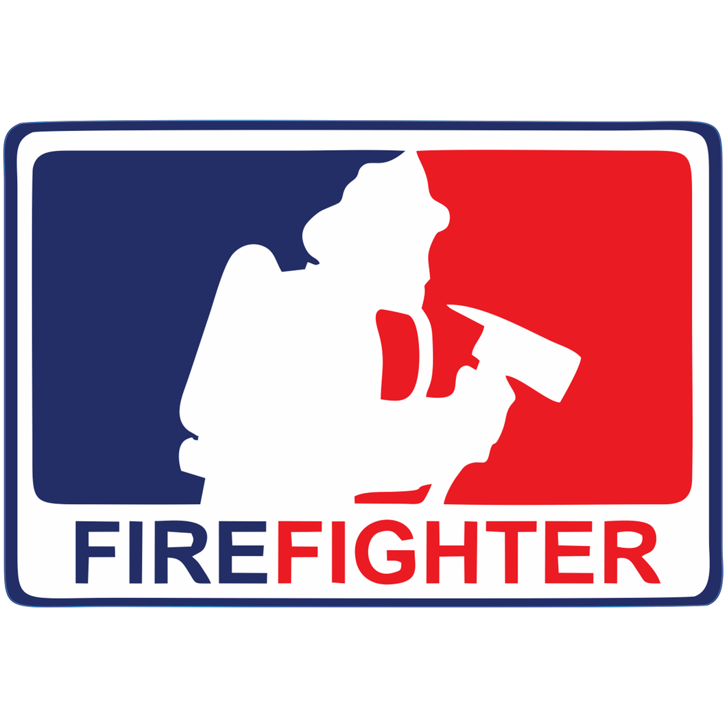 Firefighter MLB-Style (Design 1) - 4x2.75 inch Sticker