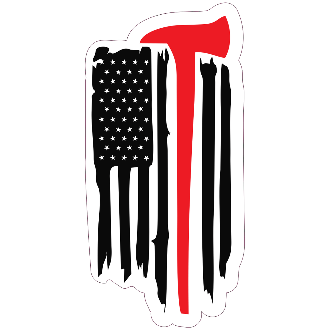 Firefighter USA Flag Thin Red Line with Axe - 2x3.75 inch Sticker