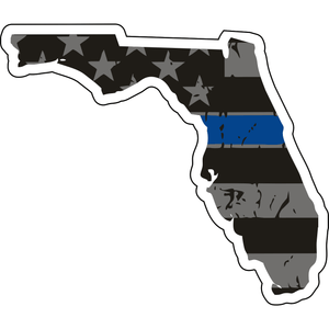 Distressed Thin Blue Line State Sticker - Choose Your State