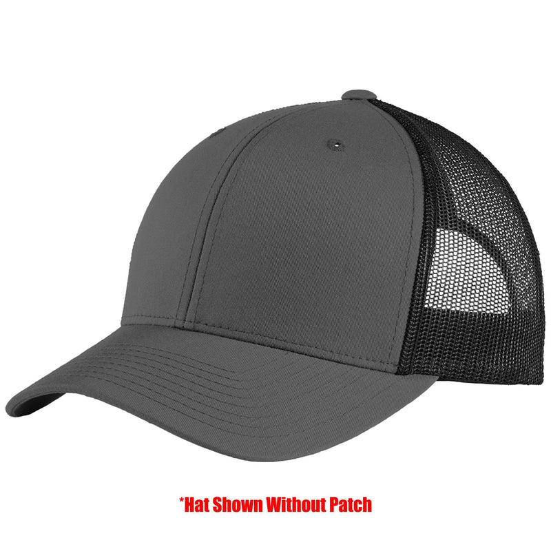 Tactical Gear Junkie Apparel Graphite/Black Mesh Trucker Hat with TGJ Spartan Logo PVC Patch - Multiple Colors
