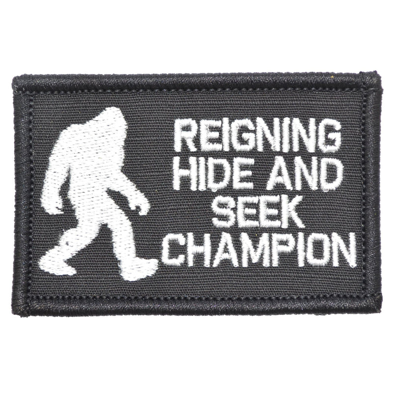 Tactical Gear Junkie Patches Black Reigning Hide and Seek Champion Bigfoot - 2x3 Patch