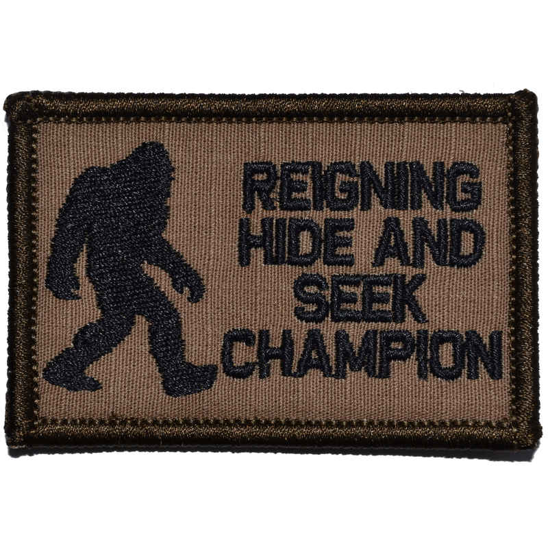 Tactical Gear Junkie Patches Coyote Brown w/ Black Reigning Hide and Seek Champion Bigfoot - 2x3 Patch