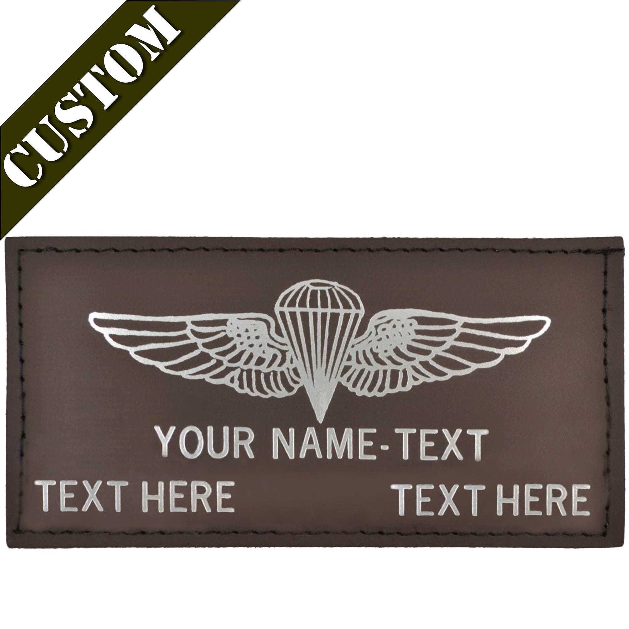Custom Leather Embossed Flight Badge - 2x4 Leather Patch
