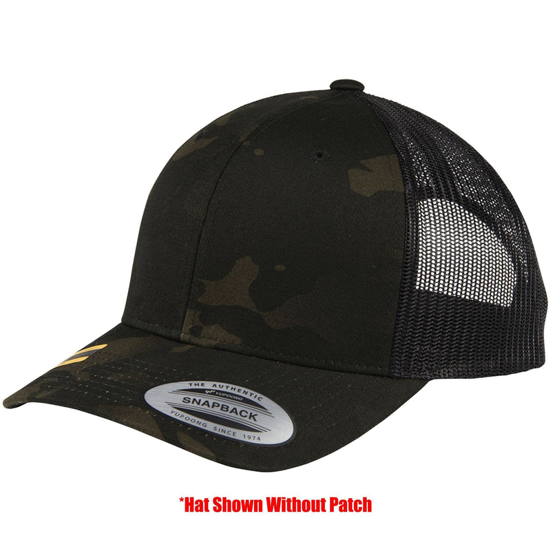 Tactical Gear Junkie Apparel MultiCam Black Mesh Trucker Hat with Glow in the Dark USA Flag PVC Patch - Multiple Colors