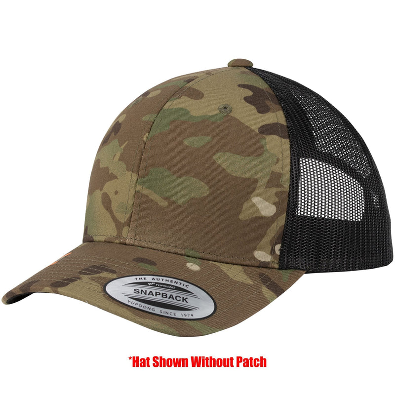 Tactical Gear Junkie Apparel MultiCam w/ OD Green Patch Mesh Trucker Hat with Mjölnir PVC Patch - Multiple Colors