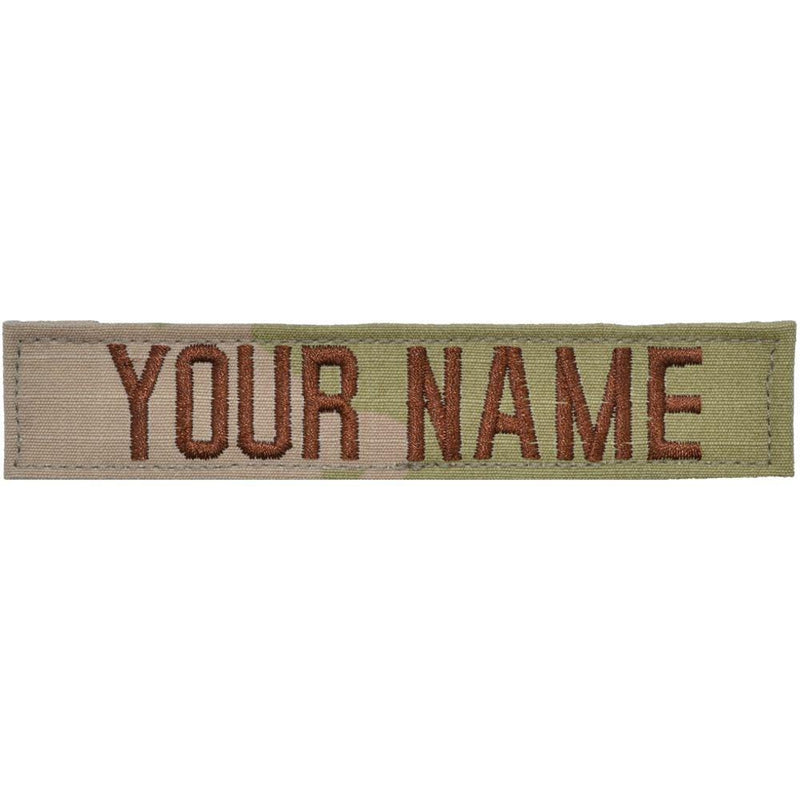 Tactical Gear Junkie Name Tapes Spice Brown Single Custom Air Force Name Tape w/ Hook Fastener Backing - 3-Color OCP
