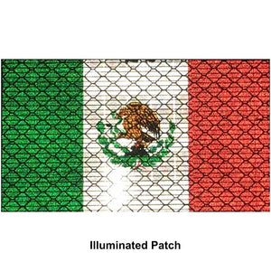 Reflective Mexico Flag - 2x3.5 Patch