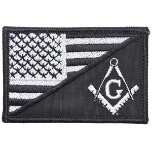 Masonic Square and Compasses USA Flag - 2.25x3.5 Patch