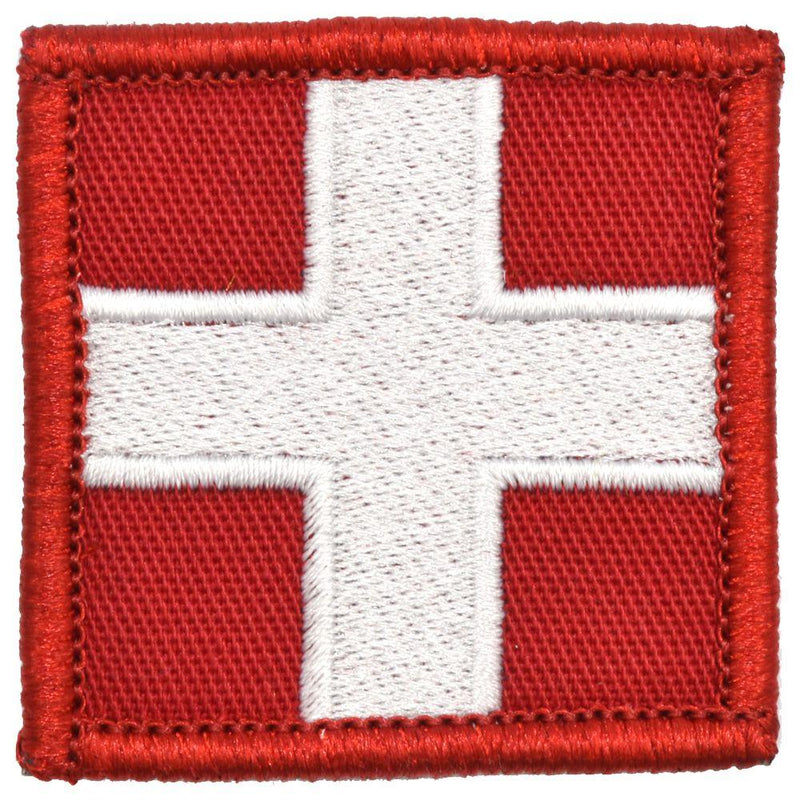 Tactical Gear Junkie Patches Red w/ White Medic Cross - 2x2 Patch