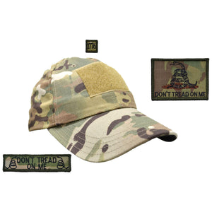 Gen II Hat with Patch Set: Don't Tread on Me Gadsden Snake, Don't Tread on Me 1x3.75, 1776 1x1
