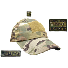 Gen II Hat with Patch Set: Against All Enemies Oath of Service 2x3, 'Murica USA Flag 1x3.75, 1776 1x1