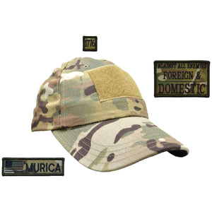 American Made Operator Hat with Patch Set: Against All Enemies Oath of Service 2x3, 'Murica USA Flag 1x3.75, 1776 1x1