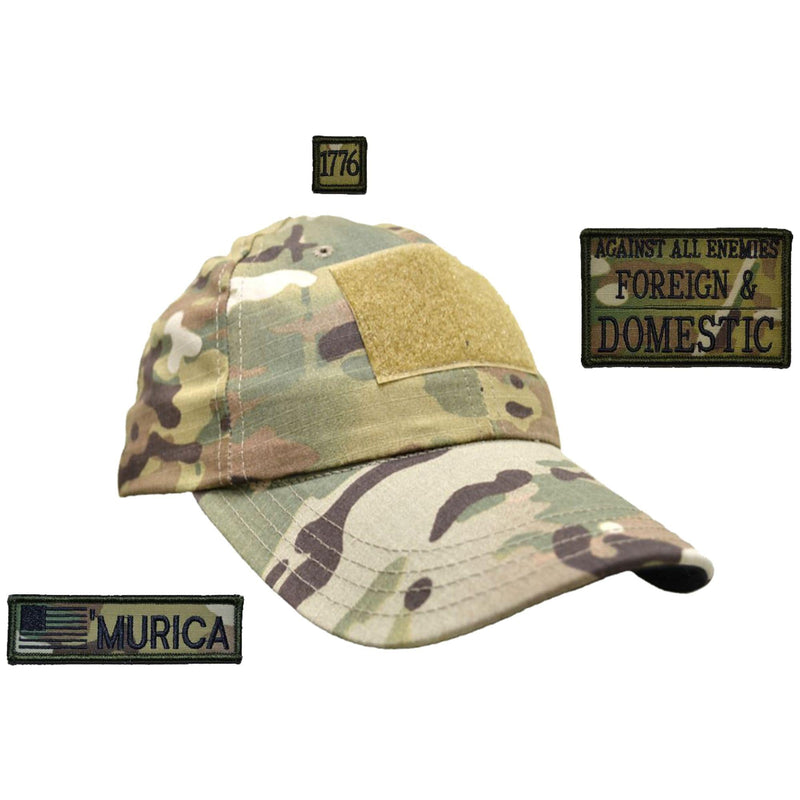 Tactical Gear Junkie Patches MultiCam American Made Operator Hat with Patch Set: Against All Enemies Oath of Service 2x3, 'Murica USA Flag 1x3.75, 1776 1x1