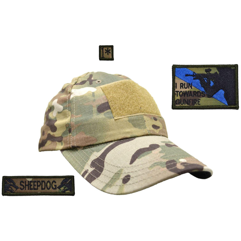 Tactical Gear Junkie Patches MultiCam American Made Operator Hat with Patch Set: I Run Towards Gunfire 2x3, Sheepdog 1x3.75, 1* 1x1