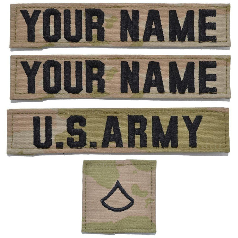 Tactical Gear Junkie Name Tapes 4 Piece Custom Army Name Tape & Rank Set w/ Hook Fastener Backing - 3-Color OCP