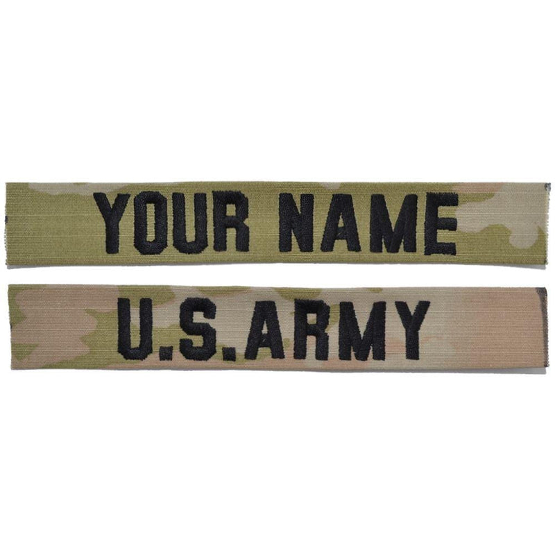 Tactical Gear Junkie Name Tapes Black 2 Piece Custom Army Name Tape Set - SEW ON - 3-Color OCP