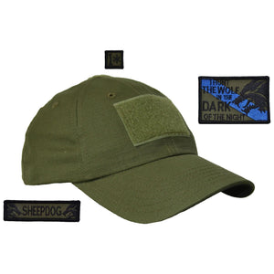 Gen II Hat with Patch Set: I Hunt The Wolf In The Dark 2x3, Sheepdog 1x3.75, 1* 1x1