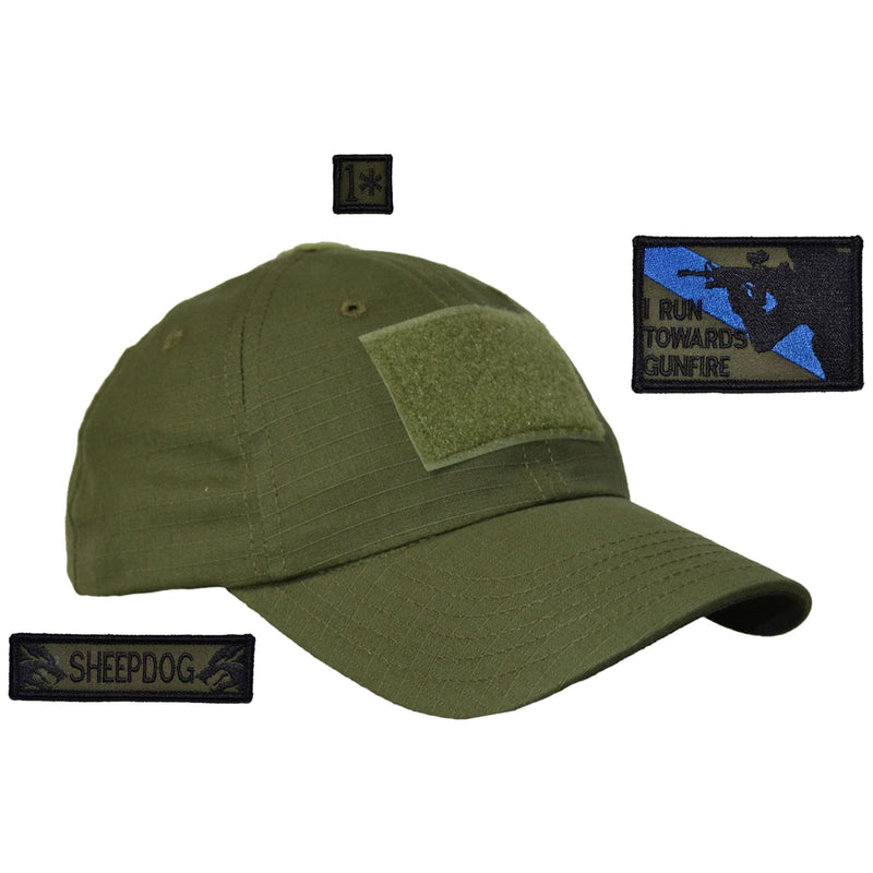 Tactical Gear Junkie Patches Olive Drab American Made Operator Hat with Patch Set: I Run Towards Gunfire 2x3, Sheepdog 1x3.75, 1* 1x1