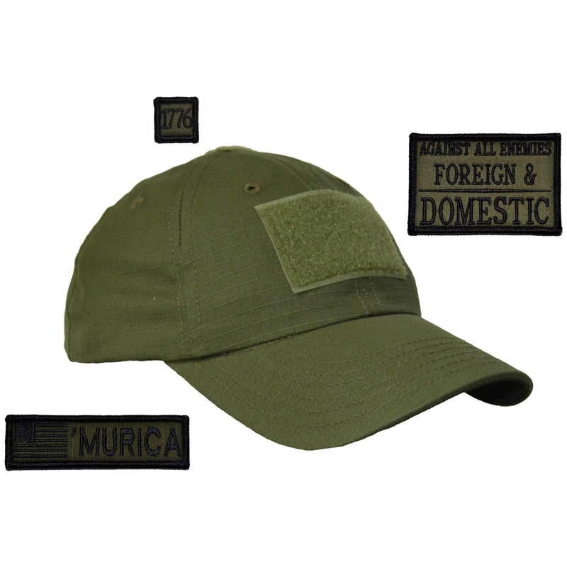 Tactical Gear Junkie Patches Olive Drab American Made Operator Hat with Patch Set: Against All Enemies Oath of Service 2x3, 'Murica USA Flag 1x3.75, 1776 1x1