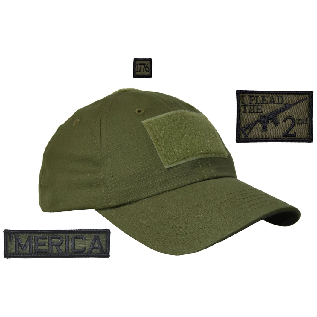 Gen II Hat with Patch Set: I Plead the Second 2x3, 'Merica 1x3.75, 1776 1x1