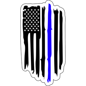 Distressed USA Flag Thin Blue Line - 5x2.5 inch Sticker